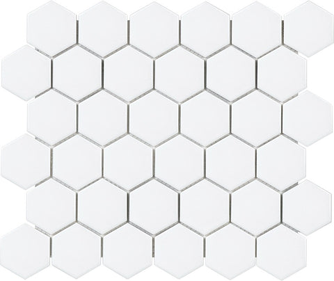 Glazed Porcelain Hexagon Mosaic Tiles - 2 Inch White Tiles - 9.3 Sq Ft Box - Rocky Point Tile - Glass and Mosaic Tile Store