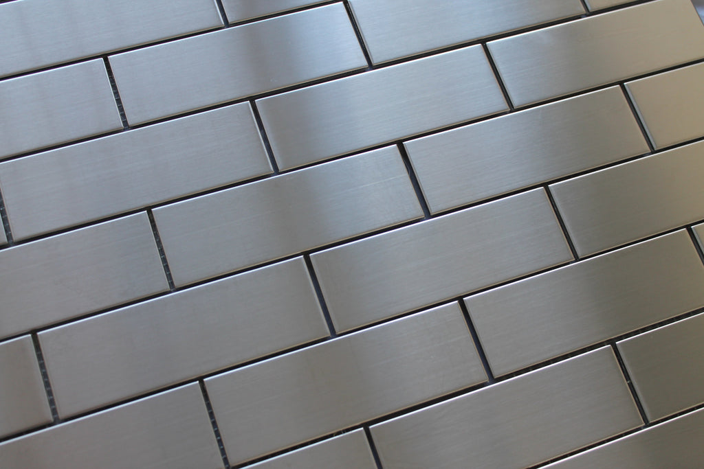 Stainless Steel 2x6 Brick Mosaic Tiles - Rocky Point Tile - Glass and Mosaic Tile Store
