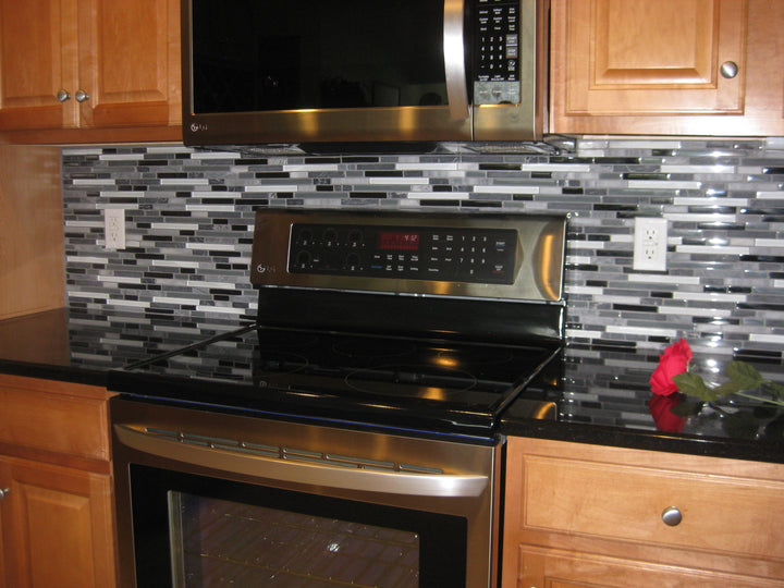Bliss Midnight Stone And Glass Linear Mosaic Tiles Rocky