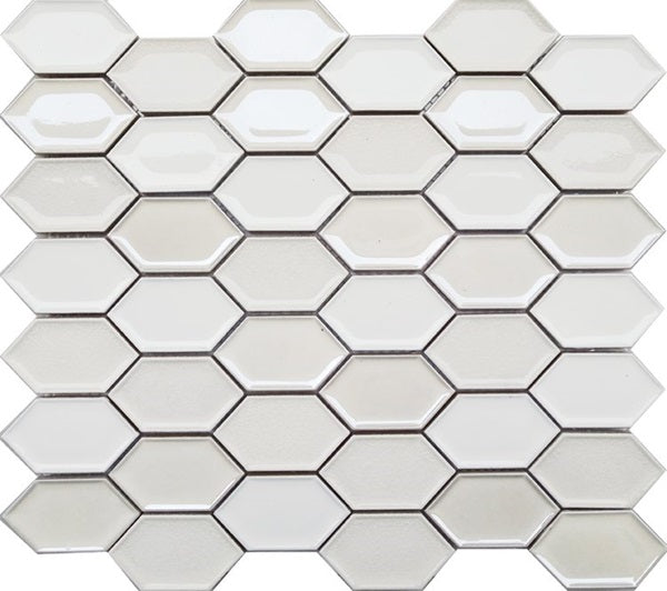 Honeycomb Beveled Picket Porcelain Mosaic Tiles - Pearl White