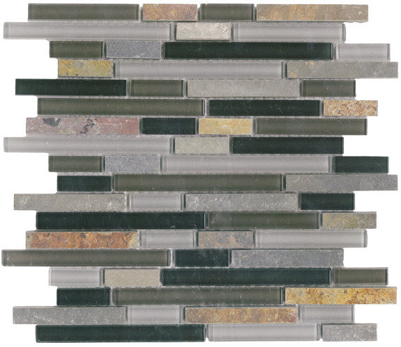 Vetro Italia Bergamo Stone and Glass Linear Mosaic Tiles - Rocky Point Tile - Glass and Mosaic Tile Store