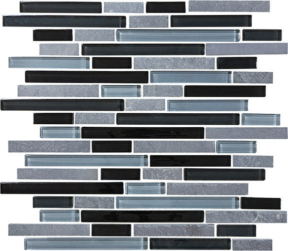 Sample Black Gray Glass Natural Stone Linear Mosaic Tile: Bliss Black Timber Stone And Glass Linear Mosaic Tiles