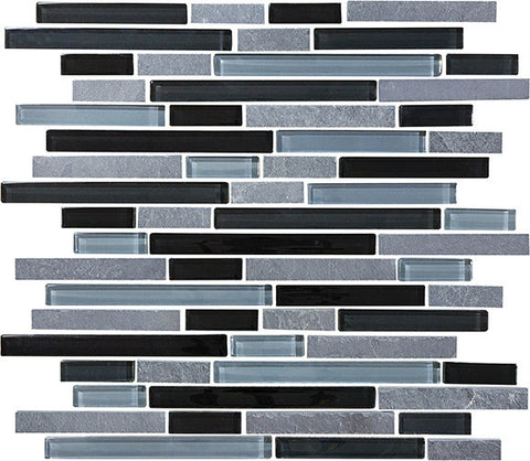 Bliss Black Timber Stone and Glass Linear Mosaic Tiles - Rocky Point Tile - Glass and Mosaic Tile Store