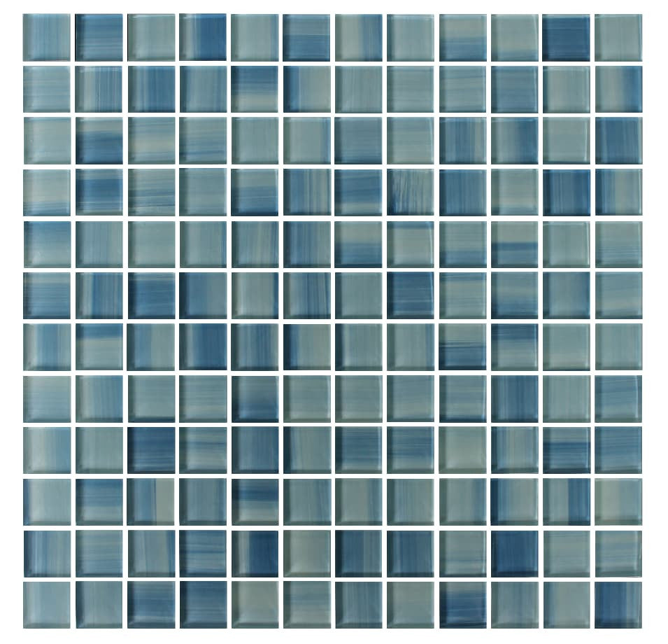 Blue Skies Hand Painted 1x1 Glass Mosaic Tiles Rocky