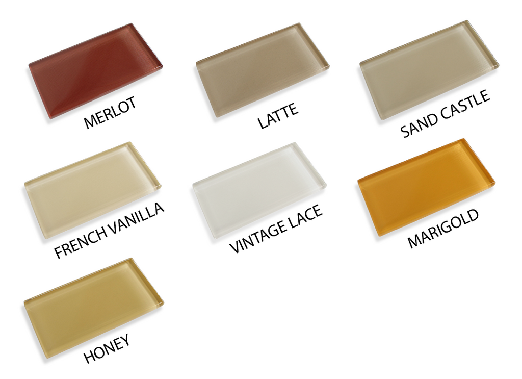 Made To Order Glass Subway Tiles Sample Combo Pack - Taupes, Browns and Yellow - Rocky Point Tile - Glass and Mosaic Tile Store