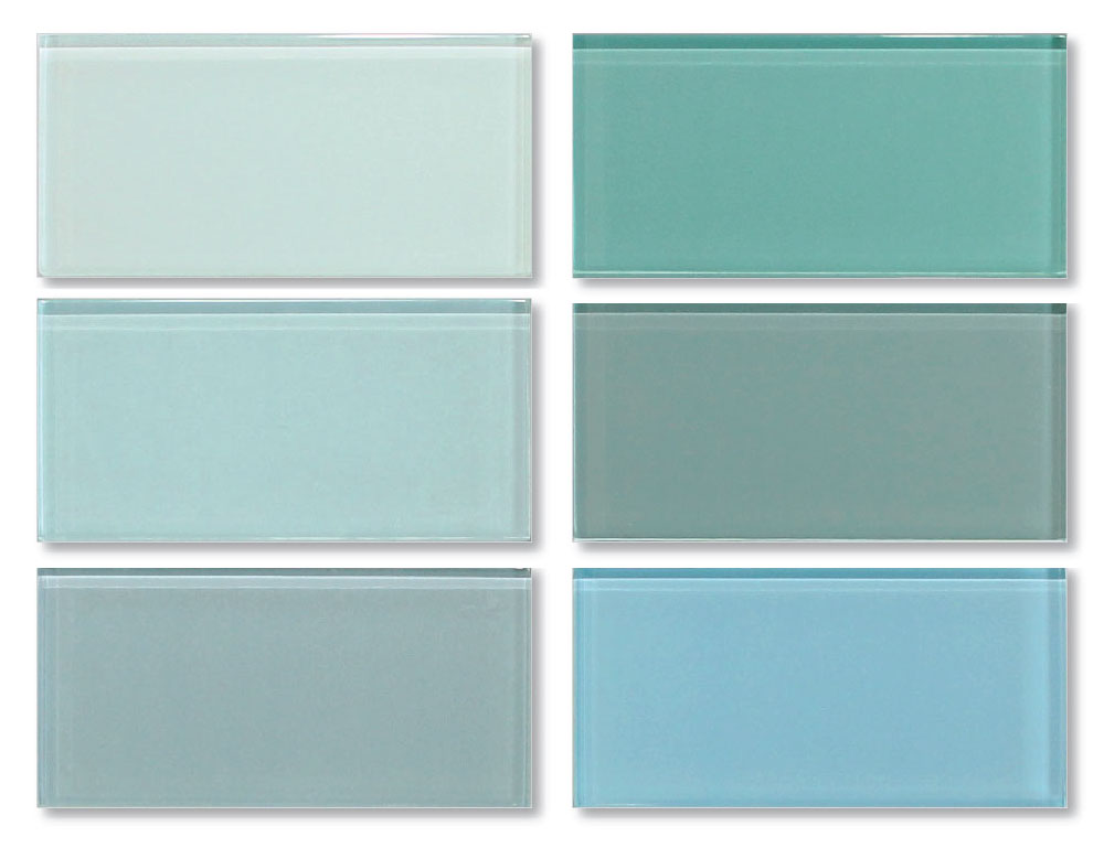 3x6 Glass Subway Tiles Sample Combo Pack - Blues and Greens - Rocky Point Tile - Glass and Mosaic Tile Store