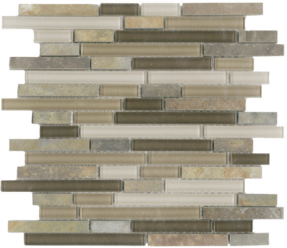 Vetro Italia Como Stone and Glass Linear Mosaic Tiles - Rocky Point Tile - Glass and Mosaic Tile Store