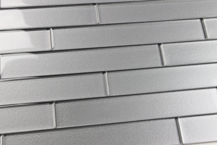 Elements Platinum 2x12 Glass Subway Tiles - Rocky Point Tile - Glass and Mosaic Tile Store