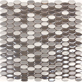 Glaze Craze Oval Porcelain Mosaic Tiles - Lotus Pearl