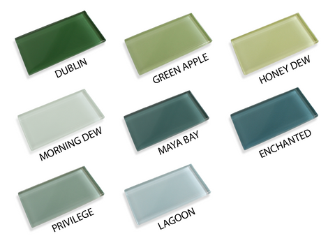 Made To Order Glass Subway Tiles Sample Combo Pack - Greens - Rocky Point Tile - Glass and Mosaic Tile Store