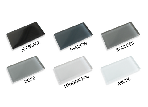Made To Order Glass Subway Tiles Sample Combo Pack - Black and Grays - Rocky Point Tile - Glass and Mosaic Tile Store