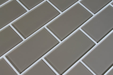 Manhattan Taupe Brown 3x6 Glass Subway Tiles Rocky Point