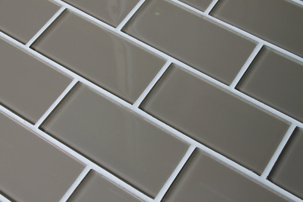 Manhattan Taupe Brown 3x6 Glass Subway Tiles - Rocky Point Tile - Glass and Mosaic Tile Store
