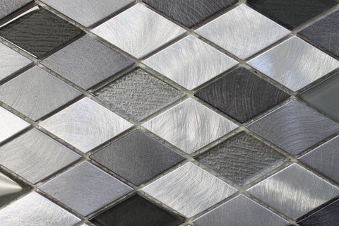 Kings Cross Diamond Brushed Aluminum and Glass Mosaic Tiles - Rocky Point Tile - Glass and Mosaic Tile Store