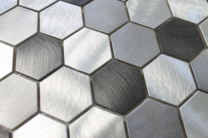 Uptown Brushed Aluminum 2 Inch Hexagon Mosaic Tiles - Rocky Point Tile - Glass and Mosaic Tile Store