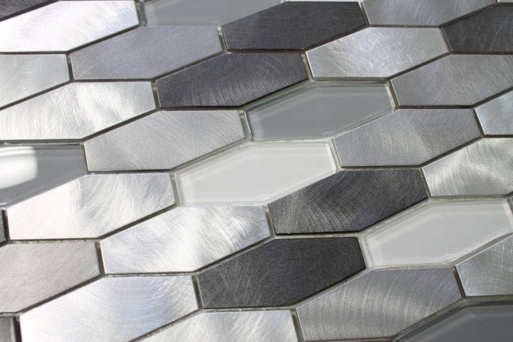 Metro Long Hexagon Brushed Aluminum and Glass Mosaic Tiles - Rocky Point Tile - Glass and Mosaic Tile Store