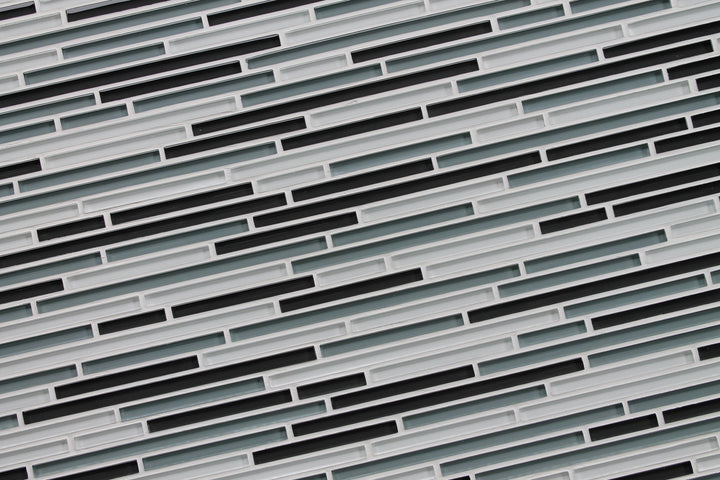 Tahoe Gray And White Linear Glass Mosaic Tile Rocky