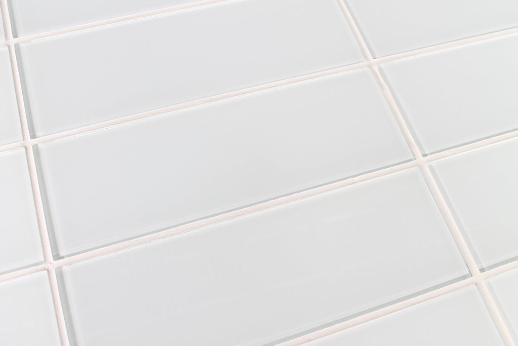 White 4x12 Glass Subway Tiles - Snow White - Rocky Point Tile - Glass and Mosaic Tile Store