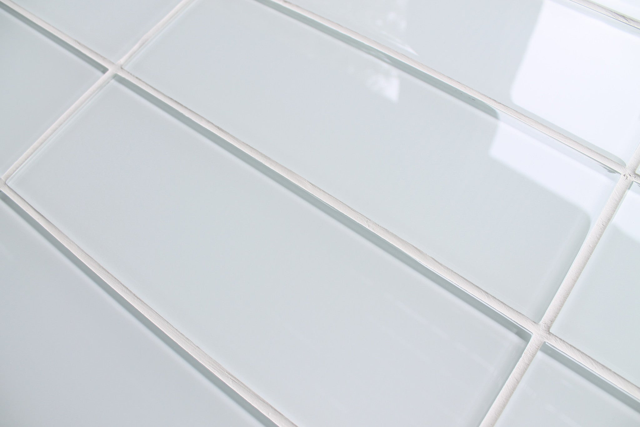 Snow white 4x12 glass subway tiles rocky point tile for Back painted glass tile