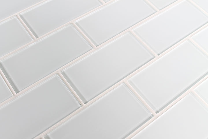 Snow White 3x6 Glass Subway Tiles - Rocky Point Tile - Glass and Mosaic Tile Store