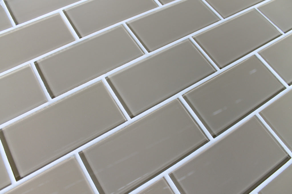 Beach Brown 3x6 Glass Subway Tiles - Rocky Point Tile - Glass and Mosaic Tile Store