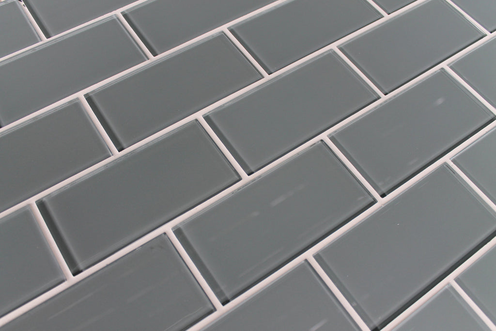 Chimney Smoke Gray 3x6 Glass Subway Tiles : Rocky Point Tile - Glass and Mosaic Tile Store