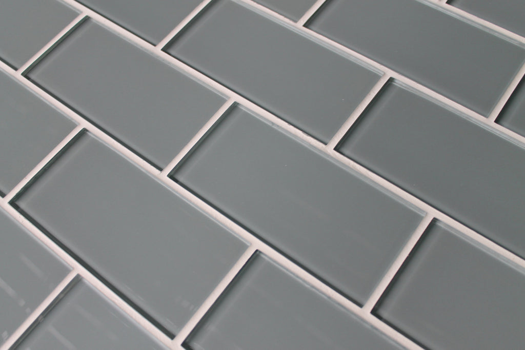 Chimney Smoke Gray 3x6 Glass Subway Tiles - Rocky Point Tile - Glass and Mosaic Tile Store
