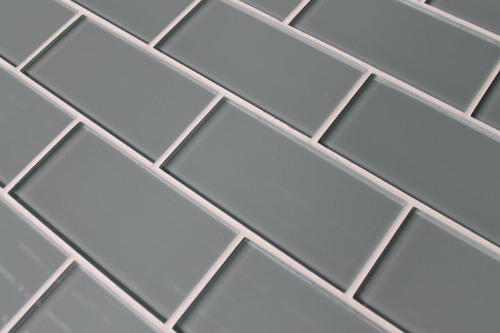 chimney smoke gray 3x6 glass subway tiles rocky point tile glass and mosaic tile