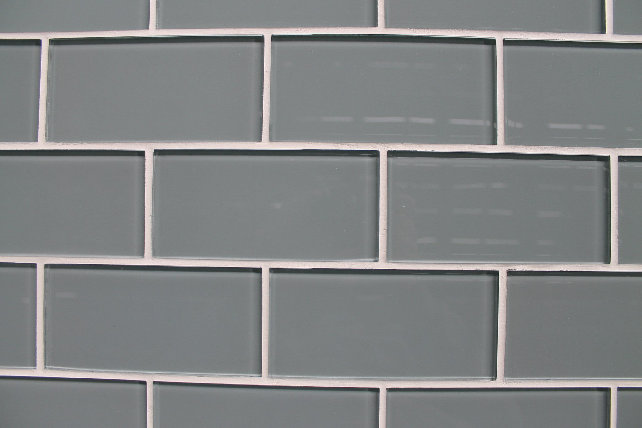 Chimney smoke gray 3x6 glass subway tiles rocky point for Large glass wall tiles