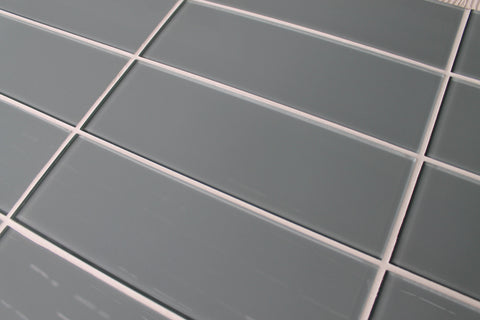 Chimney Smoke Gray 4x12 Glass Subway Tiles - Rocky Point Tile - Glass and Mosaic Tile Store