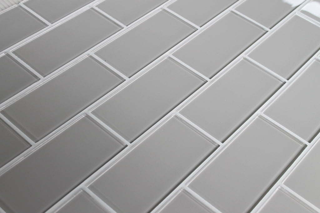 Country Cottage Light Taupe 3x6 Glass Subway Tiles - Rocky Point Tile - Glass and Mosaic Tile Store