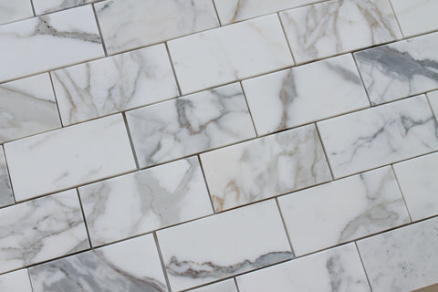 "3"" x 6"" Calacatta Gold Polished Marble Subway Tiles - Rocky Point Tile - Glass and Mosaic Tile Store"