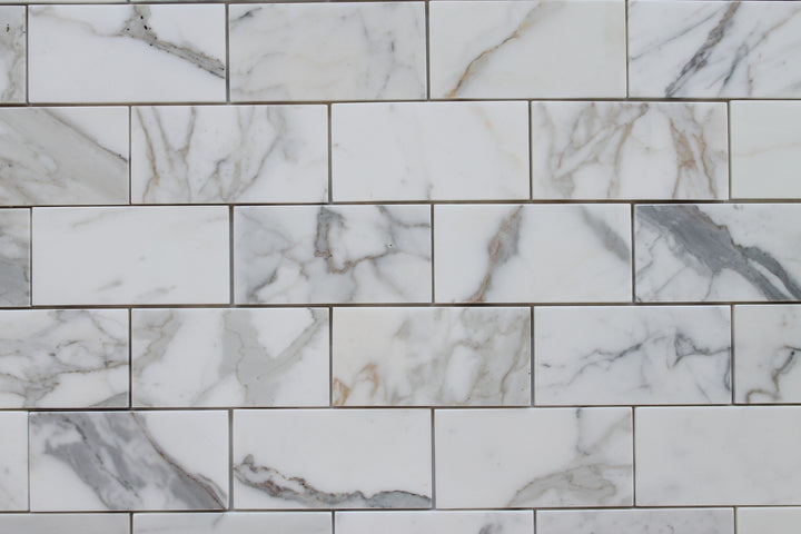3 x 6 Calacatta Gold Polished Marble Subway Tiles Rocky Point