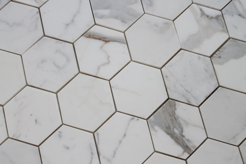 4 Quot Hexagon Calacatta Gold Polished Marble Mosaic Tiles