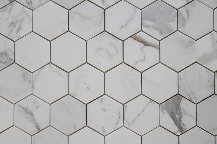 Hexagon Calacatta Gold Polished Marble Mosaic Tiles Rocky Point - Discount hex tile