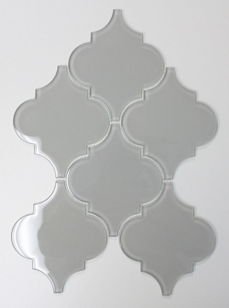 Pearl Grey Arabesque Glass Mosaic Tiles - Rocky Point Tile - Glass and Mosaic Tile Store