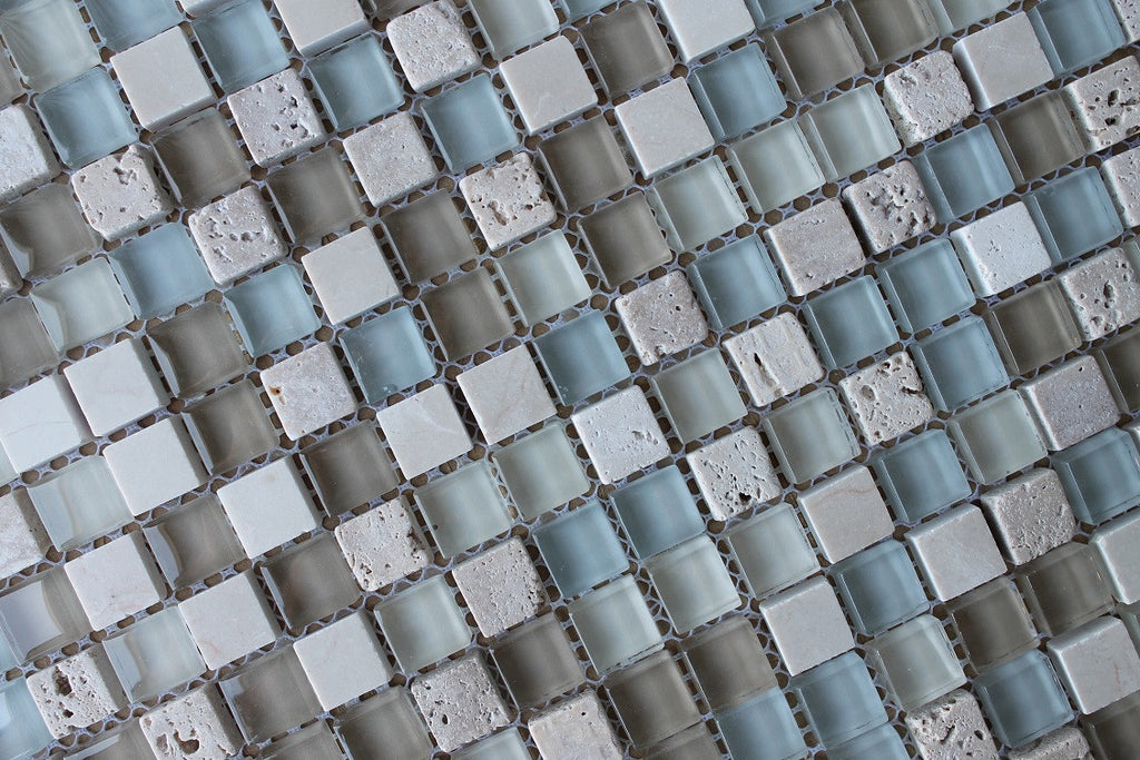 Bliss Spa Stone And Glass Square Mosaic Tiles Rocky