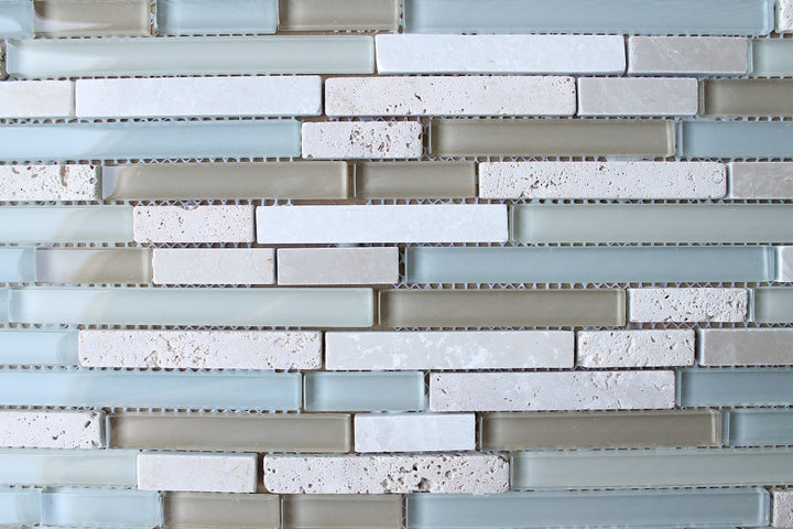 Bliss Spa Stone And Glass Linear Mosaic Tiles Rocky