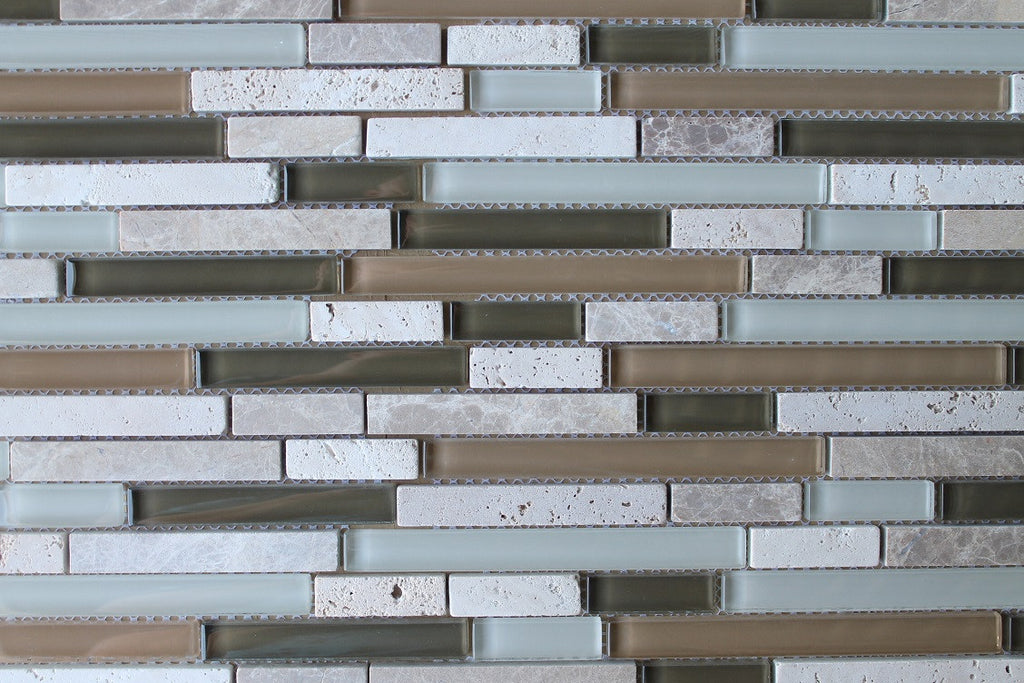 Bliss Bamboo Stone And Glass Linear Mosaic Tiles Rocky