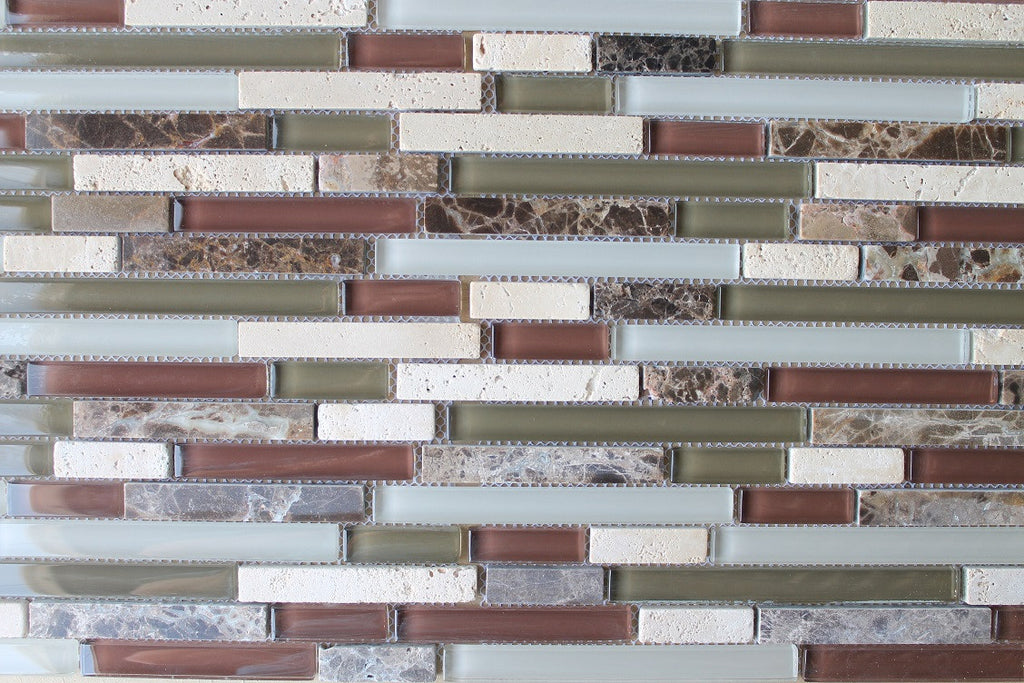 Bliss Cabernet Stone And Glass Linear Mosaic Tiles Rocky