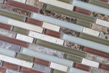 Bliss Cabernet Stone and Glass Linear Mosaic Tiles - Rocky Point Tile - Glass and Mosaic Tile Store