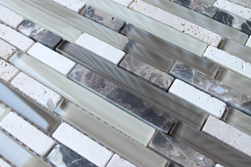 Bliss Cappucino Stone and Glass Linear Mosaic Tiles - Rocky Point Tile - Glass and Mosaic Tile Store