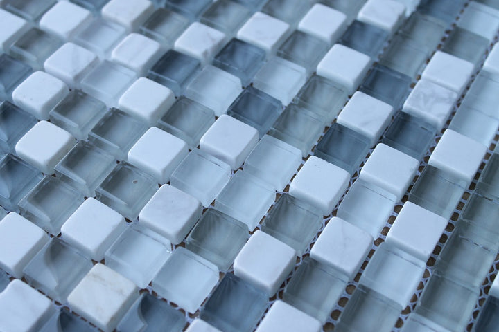 Bliss Iceland Stone And Glass Square Mosaic Tiles Rocky