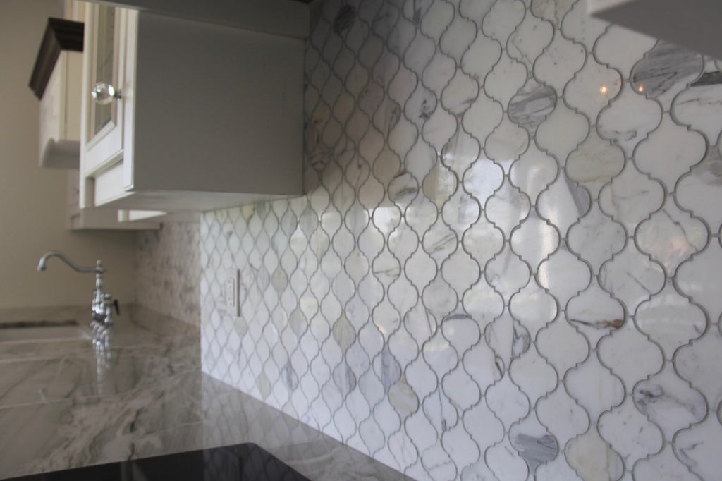 Small Arabesque Calacatta Gold Polished Marble Mosaic Tiles Rocky Point Tile Online Tile Store