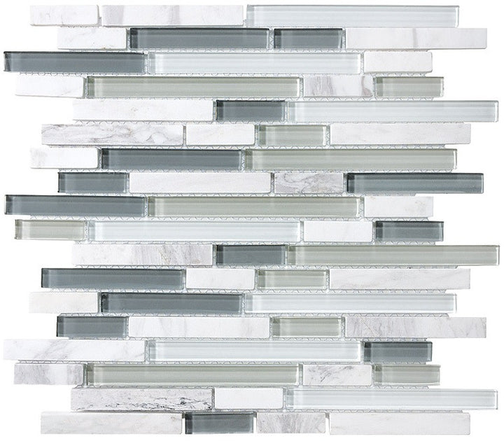 Bliss Iceland Stone and Glass Linear Mosaic Tiles - Rocky Point Tile - Glass and Mosaic Tile Store