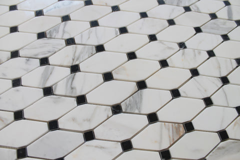 Octagon with Black Dot Calacatta Gold Polished Marble Mosaic Tiles - Rocky Point Tile - Glass and Mosaic Tile Store