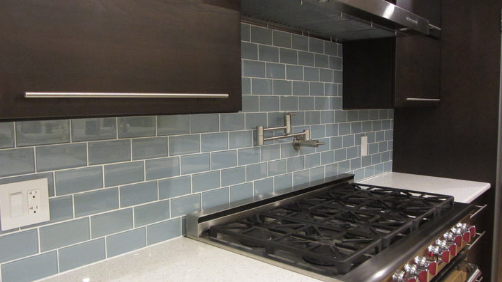 Jasper Blue Gray 3x6 Glass Subway Tiles Rocky Point Tile