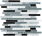 Bliss Midnight Stone and Glass Linear Mosaic Tiles - Rocky Point Tile - Glass and Mosaic Tile Store