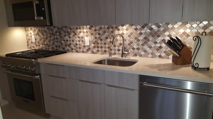 New Amsterdam Brushed Aluminum Arabesque Mosaic Tiles
