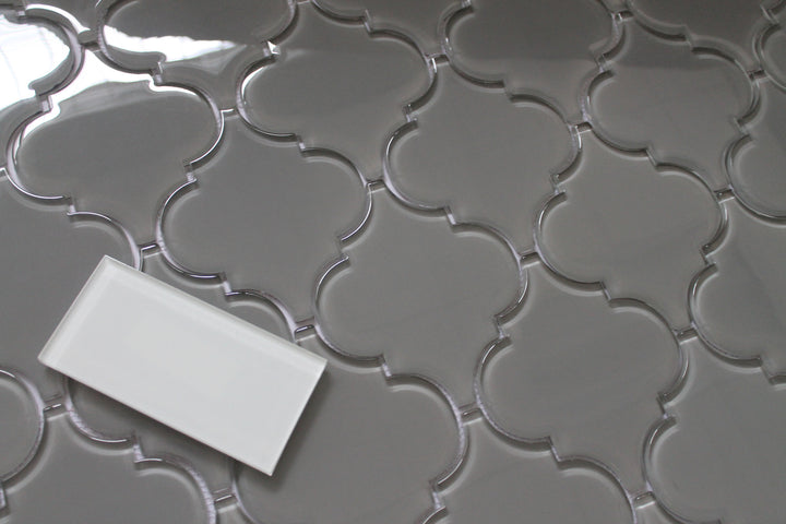 Pebble Grey Arabesque Glass Mosaic Tiles Rocky Point